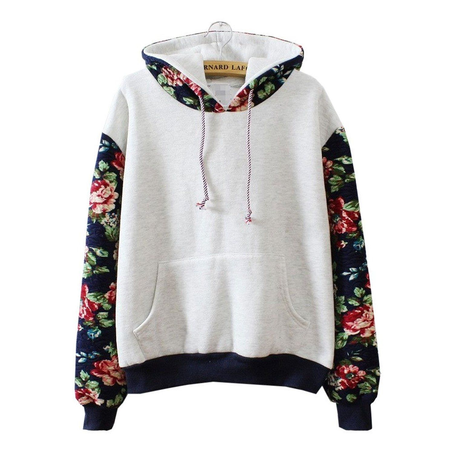 Fleece Light Hoody M Korean Students Joining Together Color Flowers Hooded