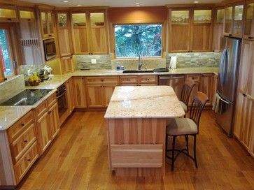 Best Hickory Cabinets With White Countertops Google Search 400 x 300