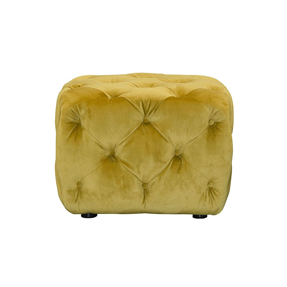 Ellonby Plush Velvet Small Button Stool, Turmeric|Footstools|Living Room