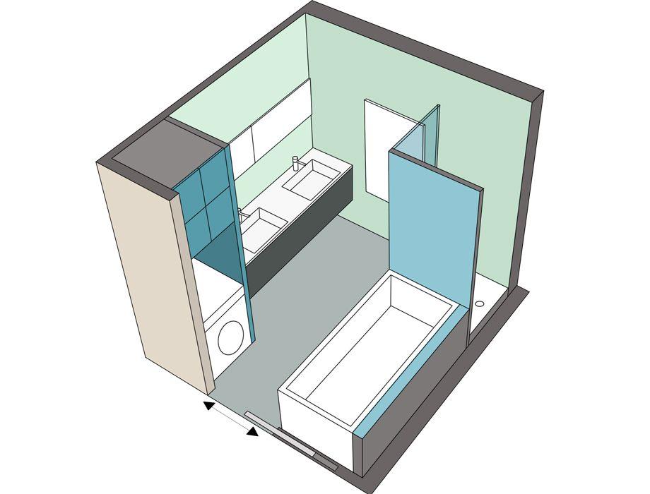 8 mod les de salles de bains de 6m bathroom pinterest for Modele salle de bain avec baignoire