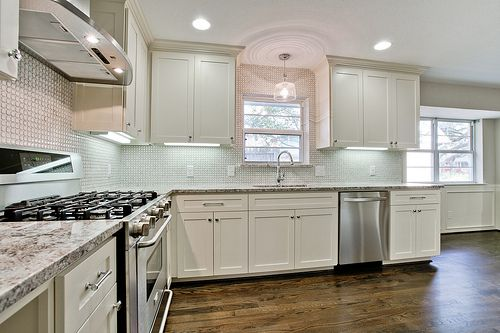 After  Flip Photos  kitchen with white custom cabinets  mosaic tile  backsplash. After  Flip Photos  kitchen with white custom cabinets  mosaic