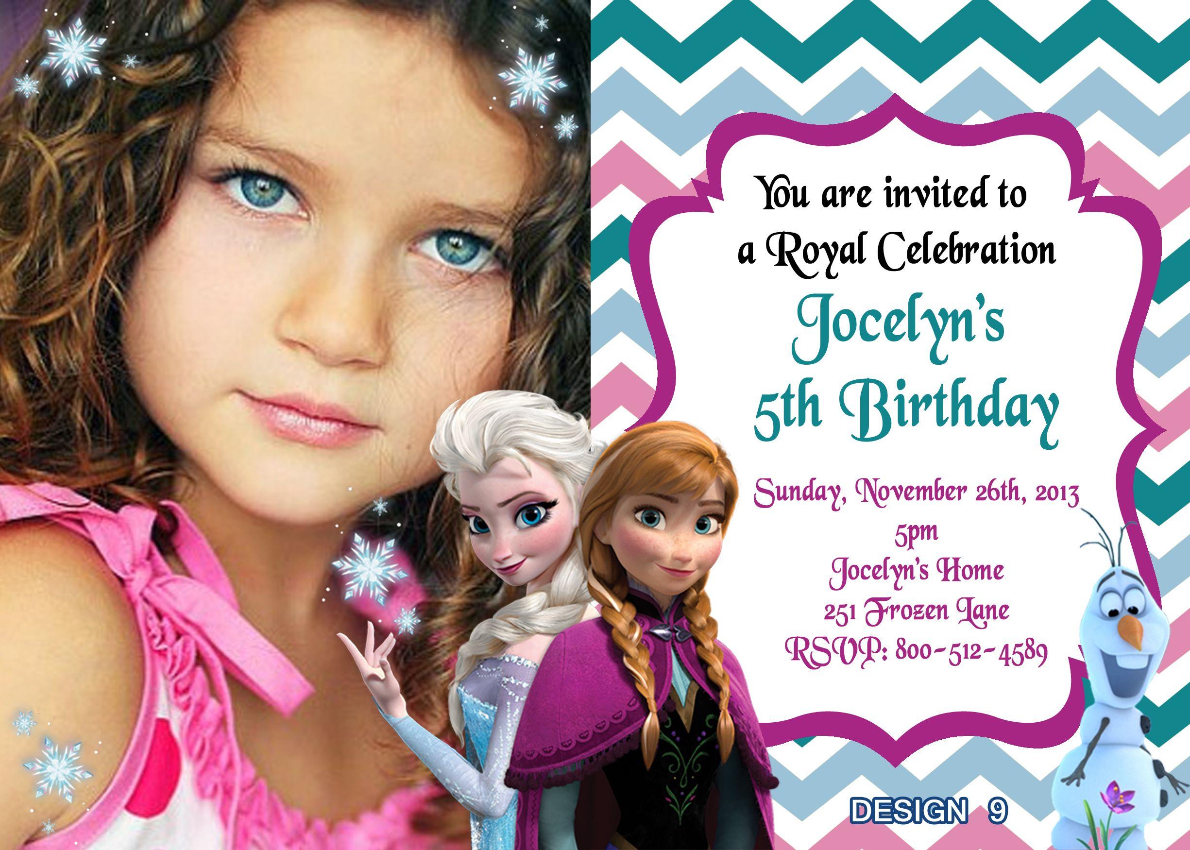 Disney Frozen Birthday Invitations $8.99 | Kayla party ideas ...
