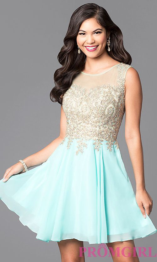 f46c9670d Image of short prom dress with jewel-embellished sheer bodice. Style: FB-