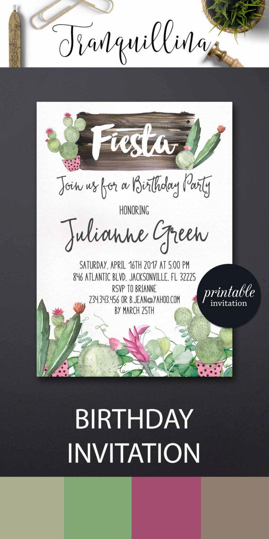 Fiesta Birthday Invitation Printable, Fiesta Invitation, Cactus ...