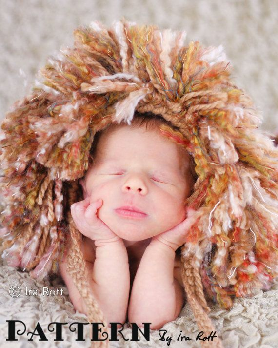 PATTERN - Jungle Lion Hat and Diaper Cover Set -  Crochet PDF Pattern for 3 sizes.