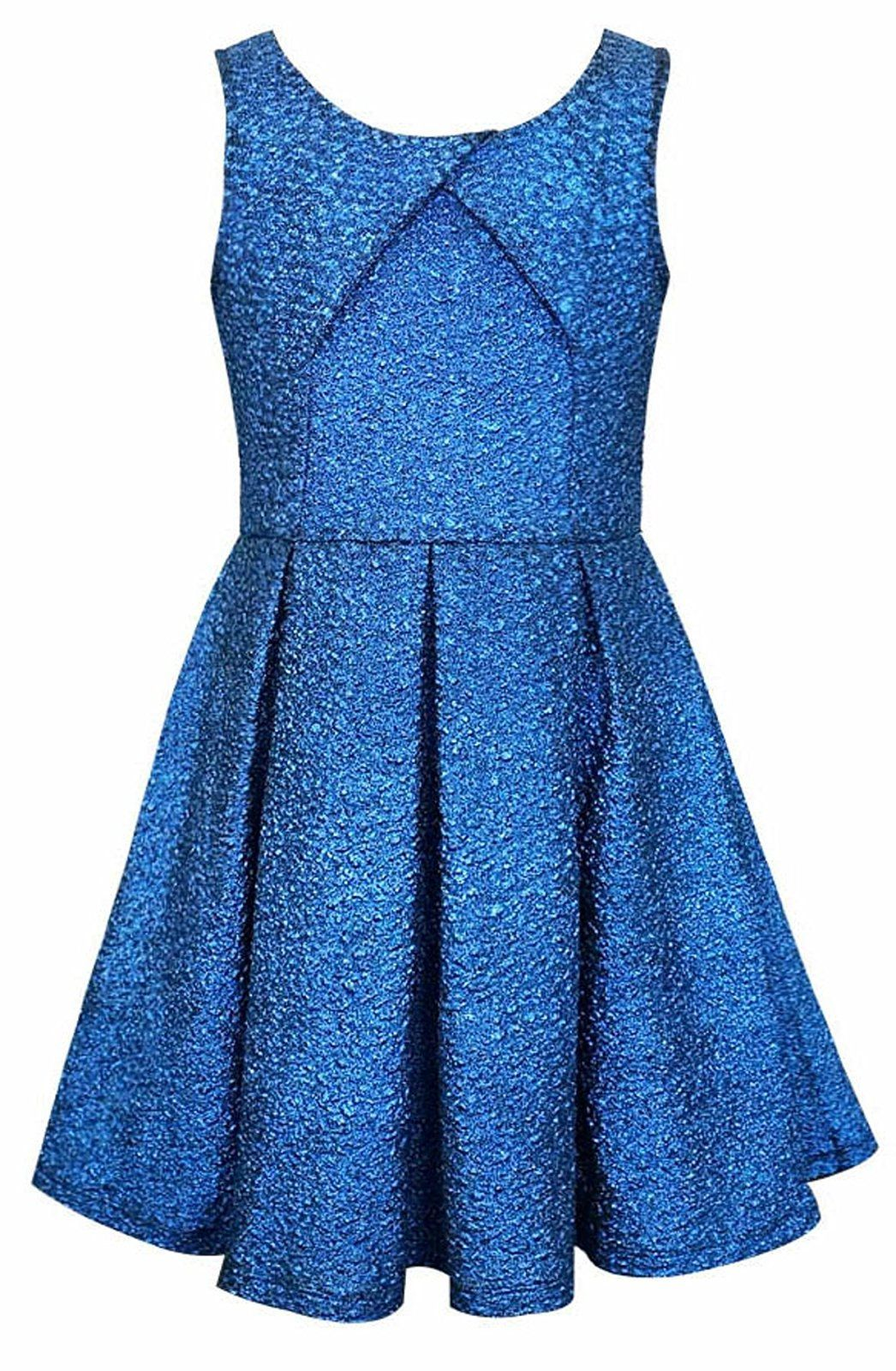 Big girls tween blue cracked knit crossover pleat fit flare