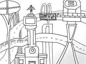 Futuristic City Line Drawing Art Project Deep Space Sparkle Futuristic City City Drawing Line Art Drawings