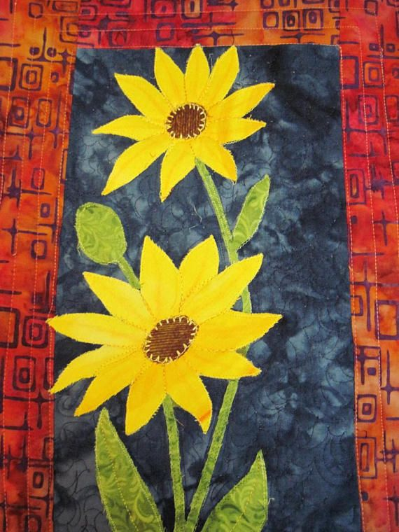 Quilted Wall Hanging wall art applique small yellow daisies | My ...