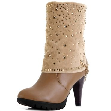$29.49Winter Round Toe Diamond Embellished Super High Stiletto Slip On Mid Calf Chains Camel Boots