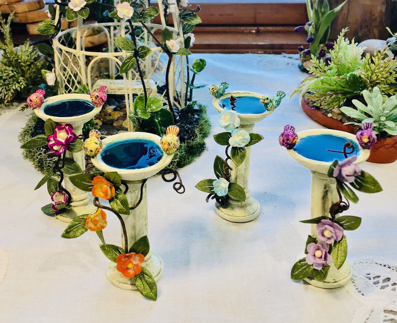 Miniature Bird Bath Hand Painted Fairy Garden Accessory