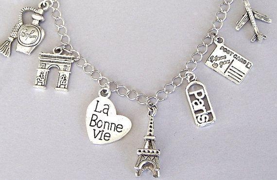 Paris Charm Bracelet Necklace France Eiffel Tower Travel La Bonne Vie Love Gift For Her
