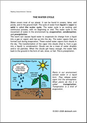 Comprehension Water Cycle Elemupper Elem Brief Text On The
