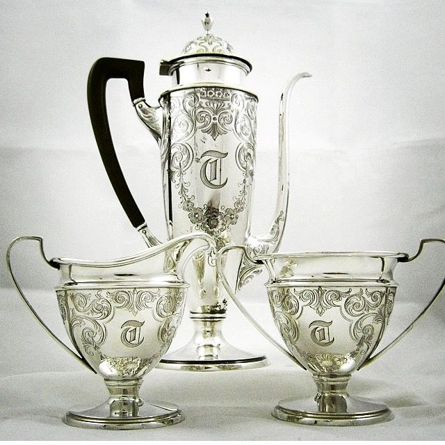 This antique sterling Black Coffee service is fabulous! www.gryphonestatesilver.com
