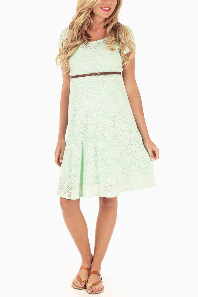 Mint-Green-Lace-Belted-Maternity-Dress