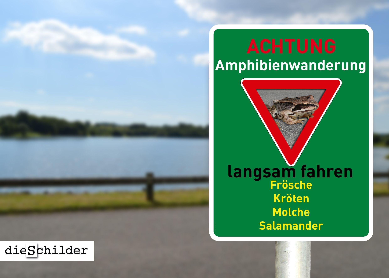 Tierschutzschild Achtung, Amphibienwanderung. Langsam