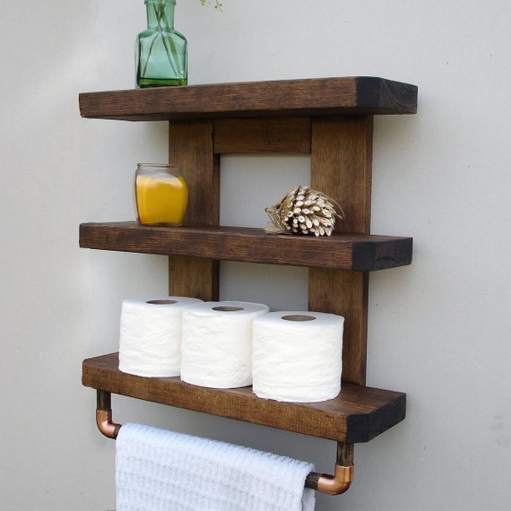 Pin By Kyle Bash On Partilheira In 2020 Bathroom Wood Shelves Rustic Bathroom Shelves Bathroom Wall Shelves