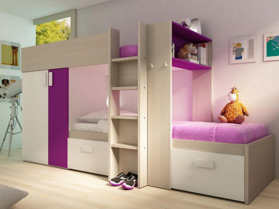 Kinderbett Hochbett Etagenbett Julien - 2x90x190cm - Taupe & Fuchsia