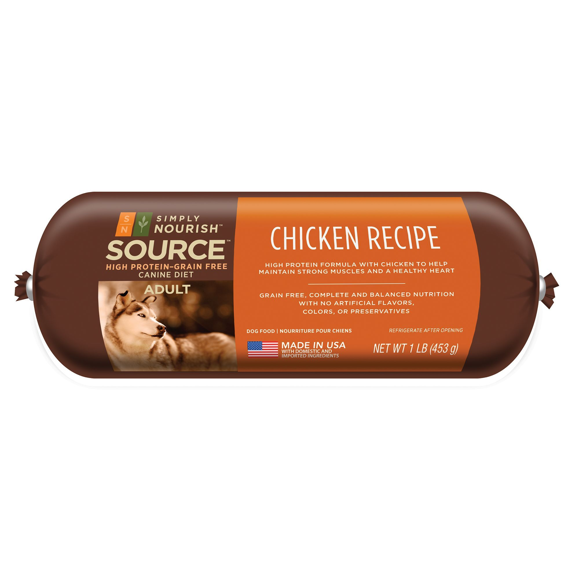 Simply Nourish Source Adult Dog Food Roll Natural Grain Free
