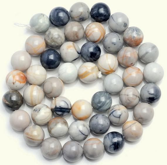 Sale Price Free Usa Ship Genuine Natural Picasso Japser Grey Round 4mm 6mm 8mm 10mm Grade Aa Genuine Nature Natural Gemstones
