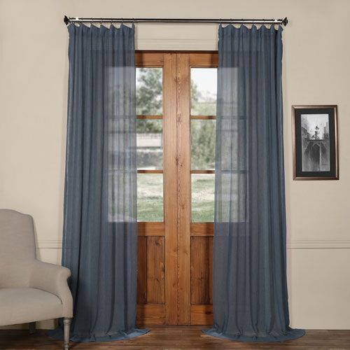 Tahoe Blue Solid Faux Linen 50 X 120 Inch Sheer Curtain Curtains