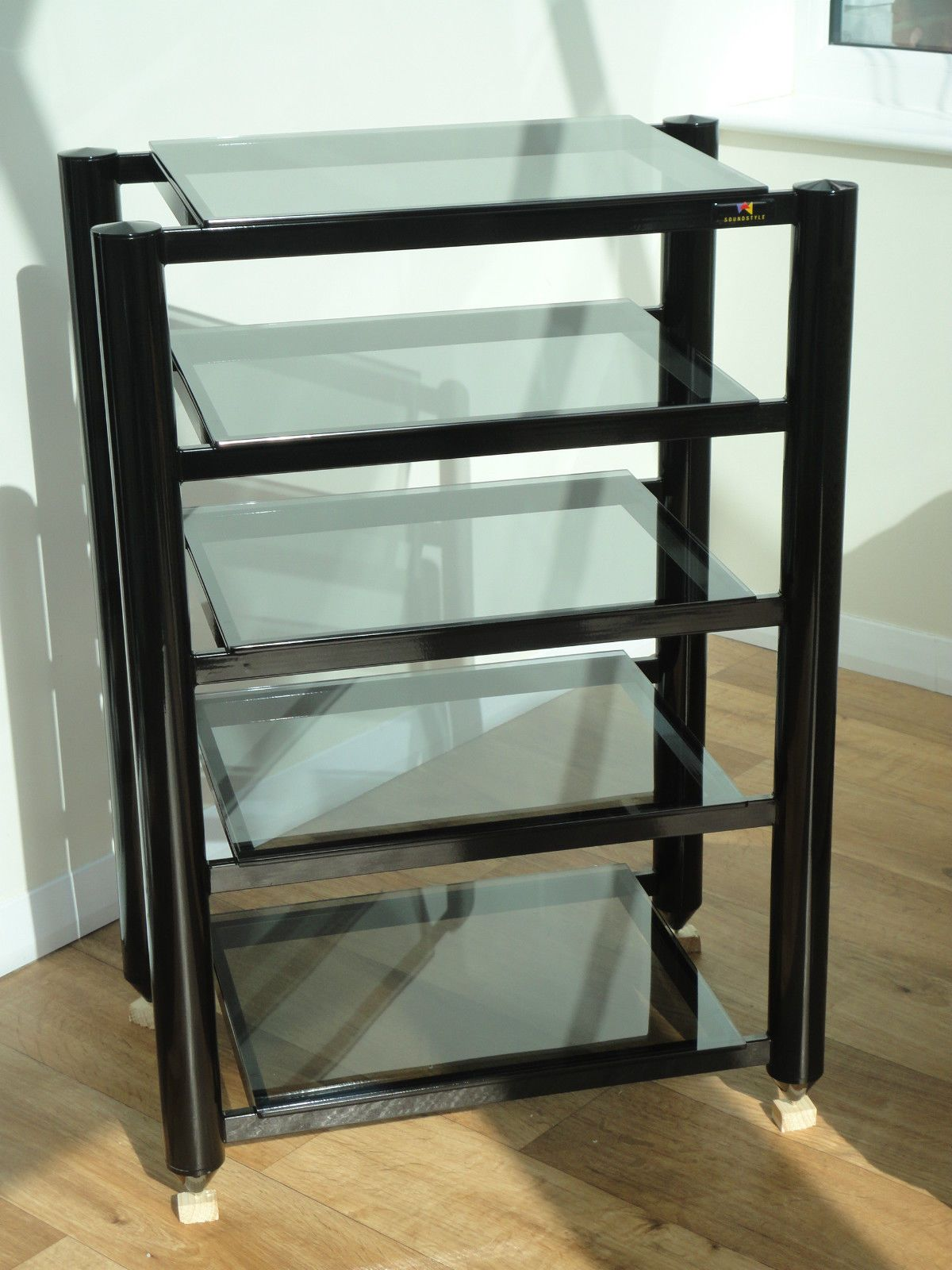 Hifi Rack Design Soundstyle Hi Fi Audio Rack Black With Tinted Glass Shelves