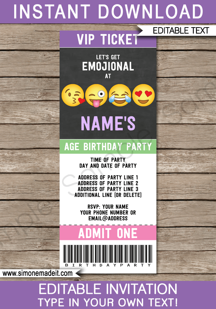 emoji party ticket invitations template girls birthday party