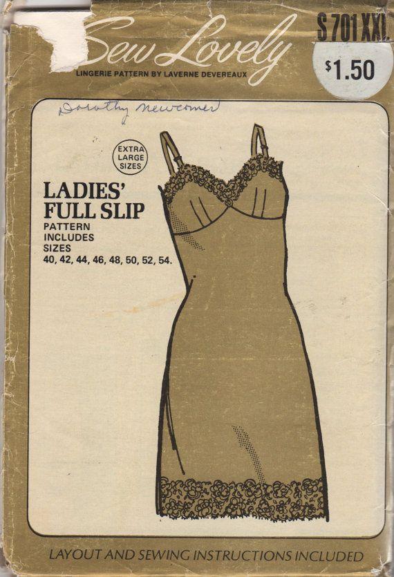 sew lovely s701 1970s womens full slip pattern xxl plus size