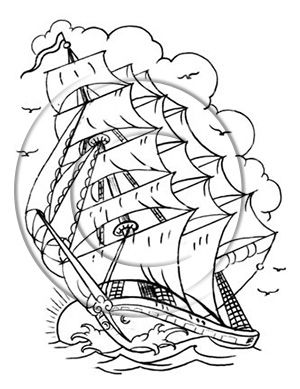 Download Free Black Outline Sailor Ship Tattoo Stencil To Use And
