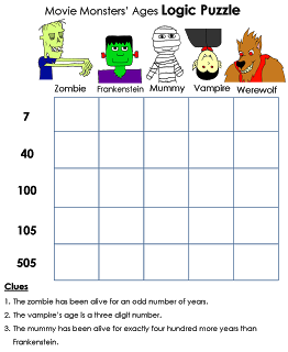 free printable monster logic puzzles at beyond gold stars lots of other great free resources for parents and teachers on this site
