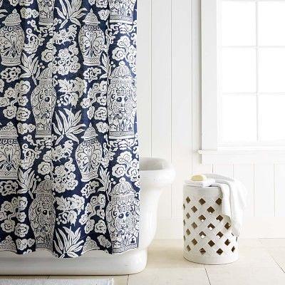 Printed Linen Ginger Jar Shower Curtain Ginger Jars Luxury