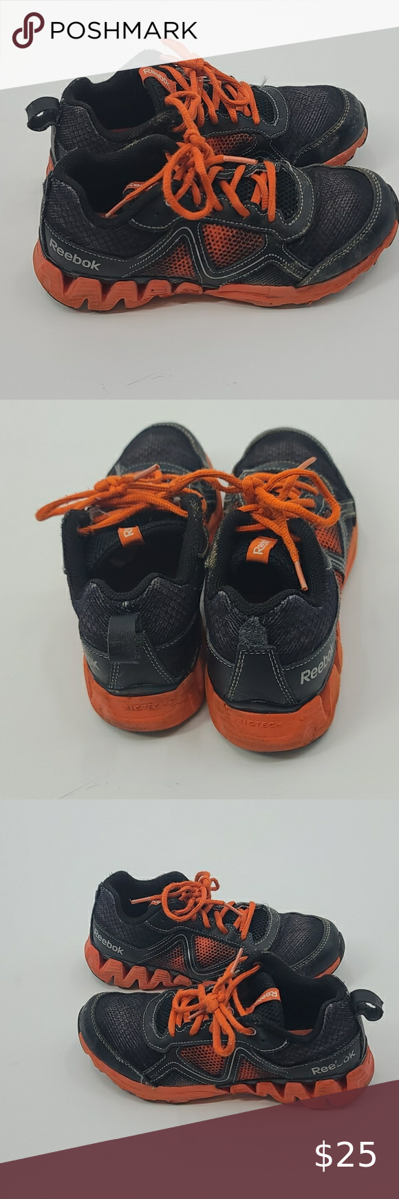 Reebok orange and black zigtech boys