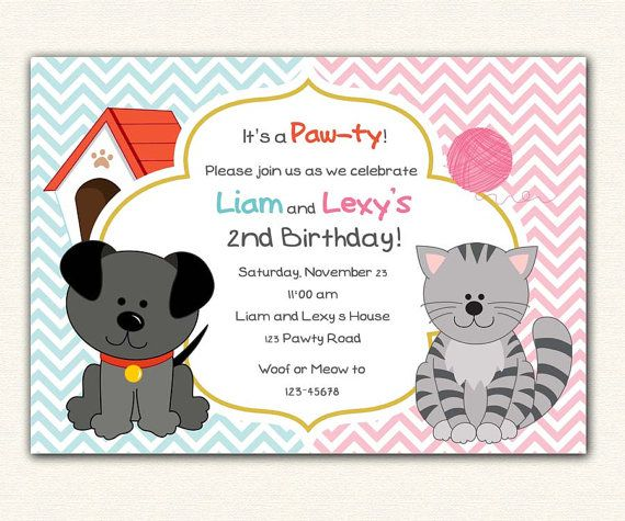 Puppy and kitten birthday invitation printable pet dog cat kitty puppy and kitten birthday invitation printable pet dog cat kitty diy party for boys filmwisefo Image collections