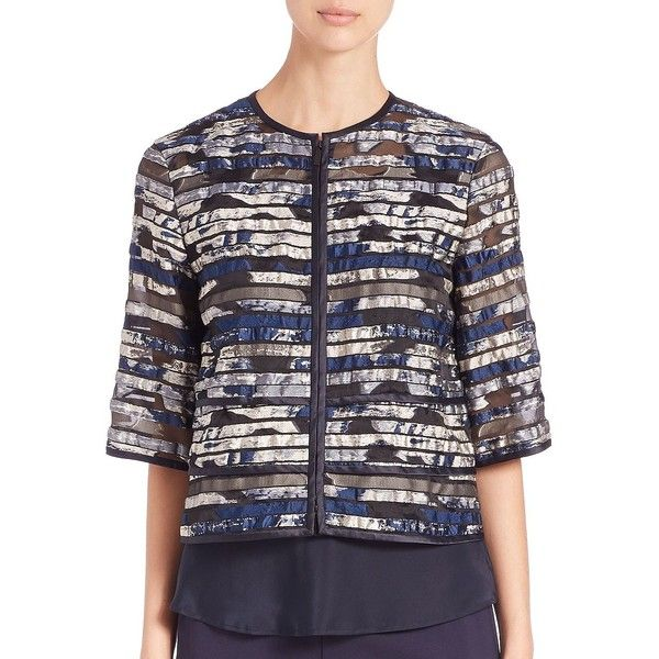 Lafayette 148 New York Angelica Jacquard Short Topper ($219) ❤ liked on Polyvore featuring outerwear, coats, apparel & accessories, jacquard coat, cropped coat, lafayette 148 new york, fur-lined coats and short coat