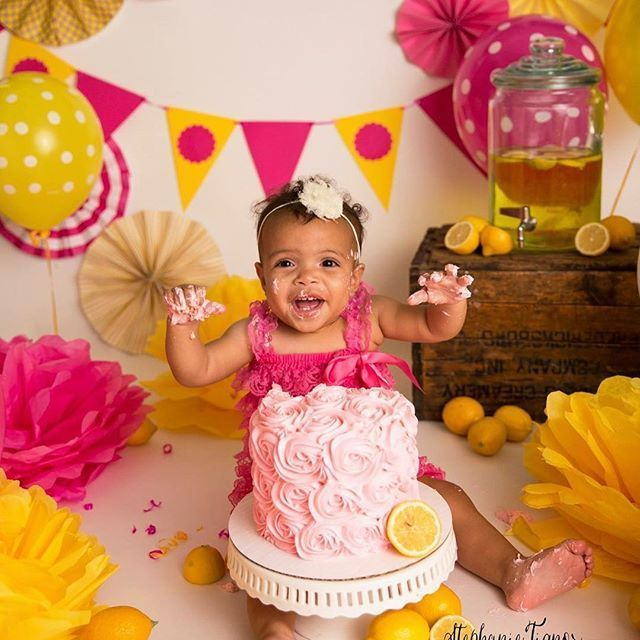 Amanda Nagy on Instagram This lemonade themed smash session was the perfect summery way to kick of Bright pink and yellow lemonade Cake smash with twins by Virginia cake...