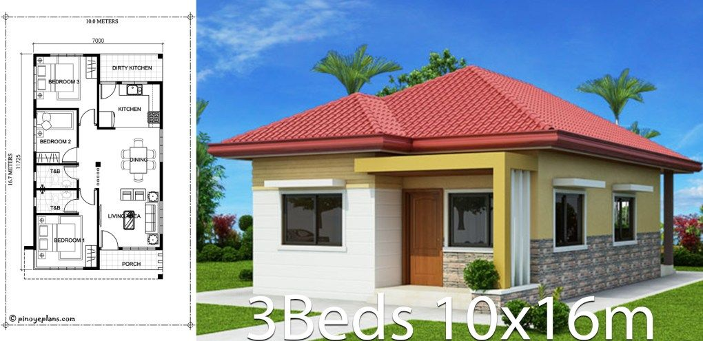 Home Design 10x16m With 3 Bedrooms In 2020 Affordable House Plans Bungalow Style House Plans House Plans