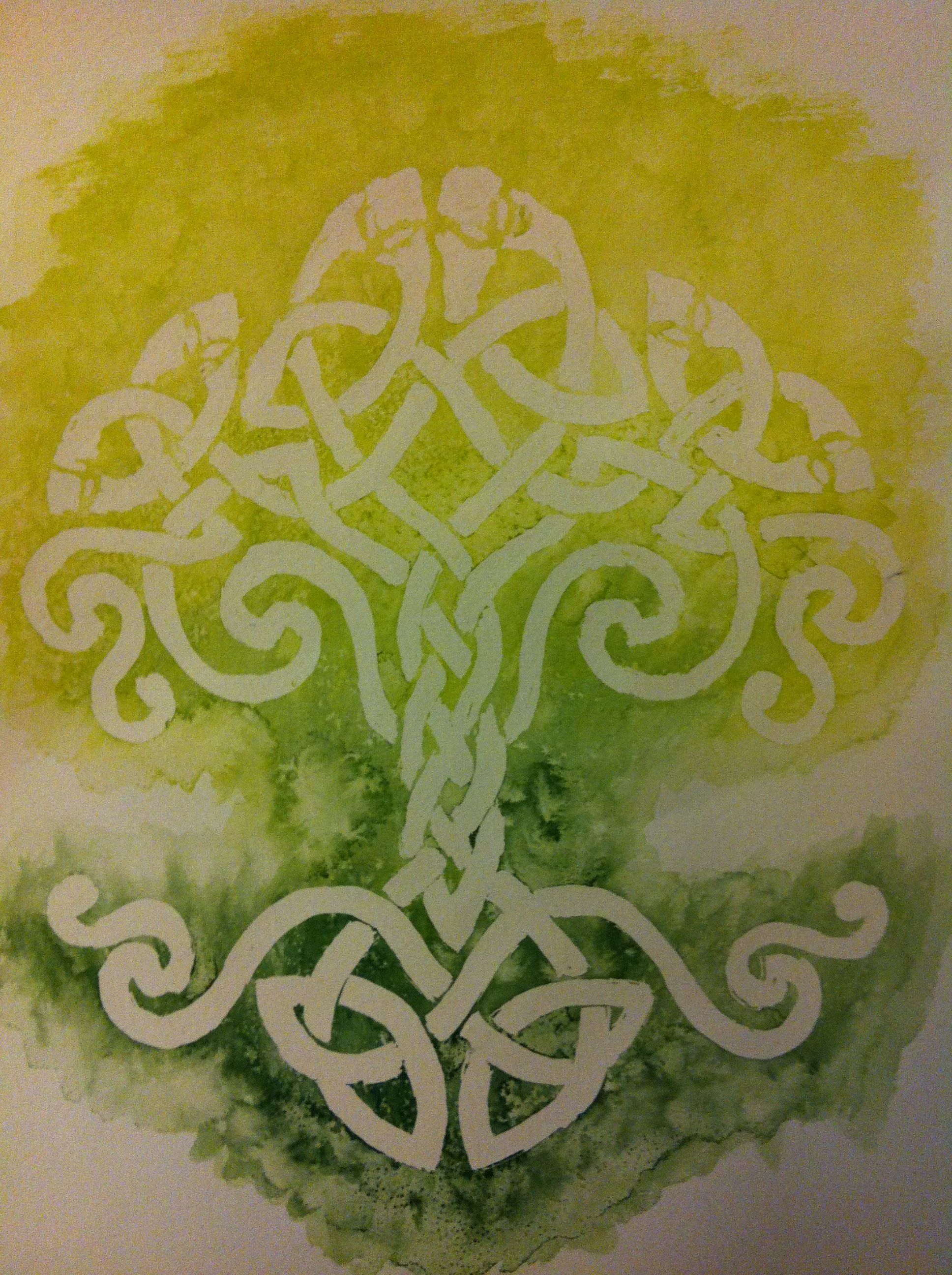 watercolor painting of green tree of life made of Celtic knots. i ...
