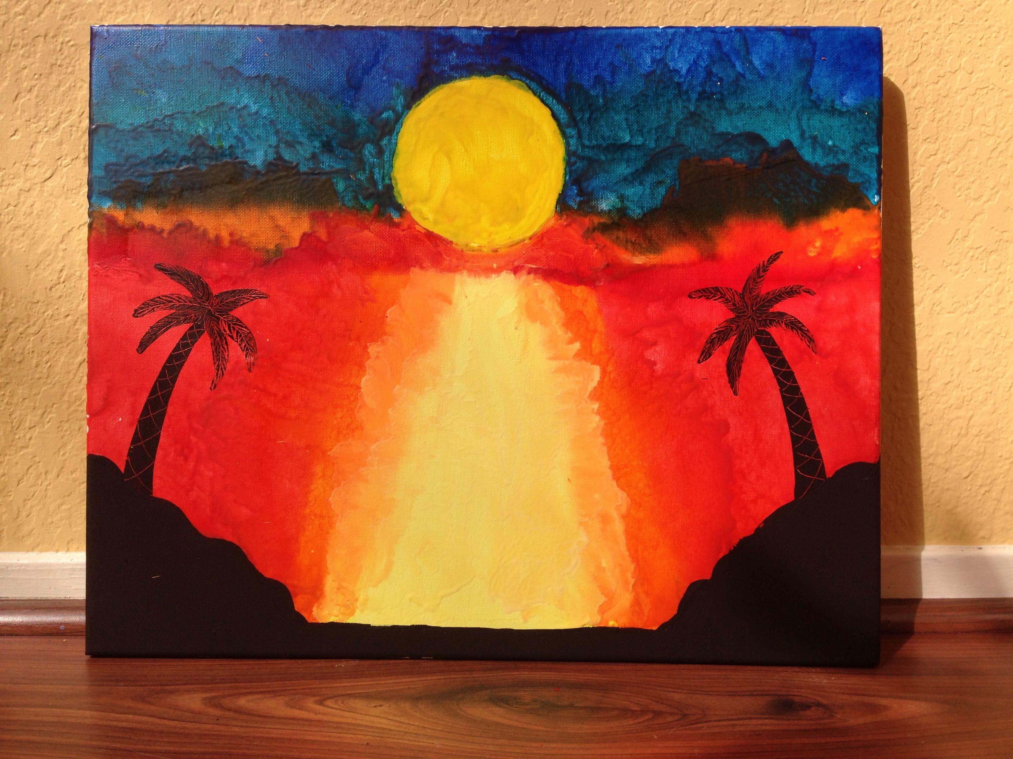 Beach Sunset Melted Crayon Art Crayon Art Melted Crayon Art Art