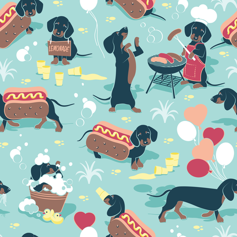 Colorful Fabrics Digitally Printed By Spoonflower Small Scale Hot Dogs And Lemonade Aqua Background Dachshund Sausage Dogs Dachshund Wallpaper Dog Wallpaper Dog Illustration