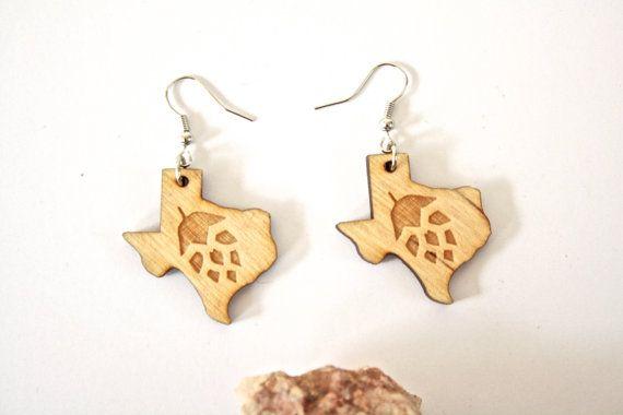 Texas Hop Earrings Beer Earrings Texas by TinyWoodenCactus on Etsy