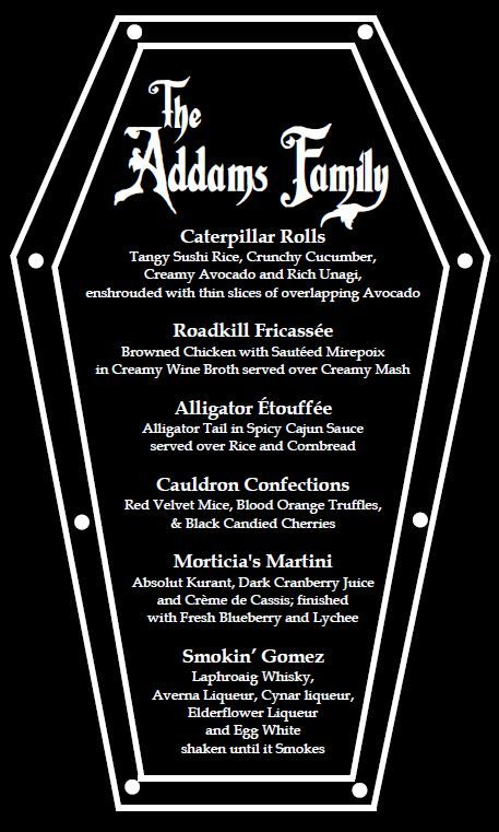 Addams Dinner Party Menu Created Megan Mccluskey