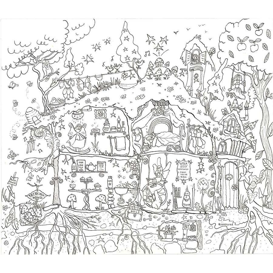 Fairy house colouring in poster by really giant posters notonthehighstreet com
