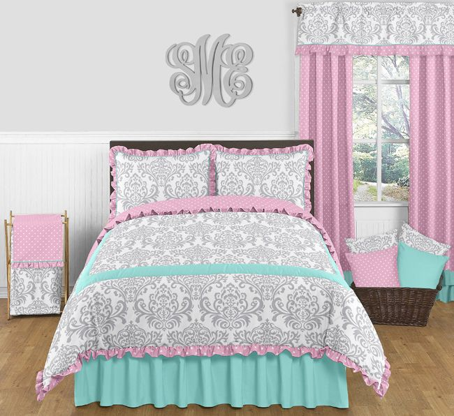 Skylar Pink Gray And Turquoise Girls Bedding Set Full Queen 3pc