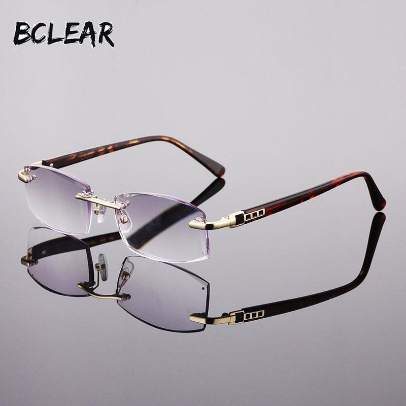 Bclear new fashion men rimless reading glasses 100 150