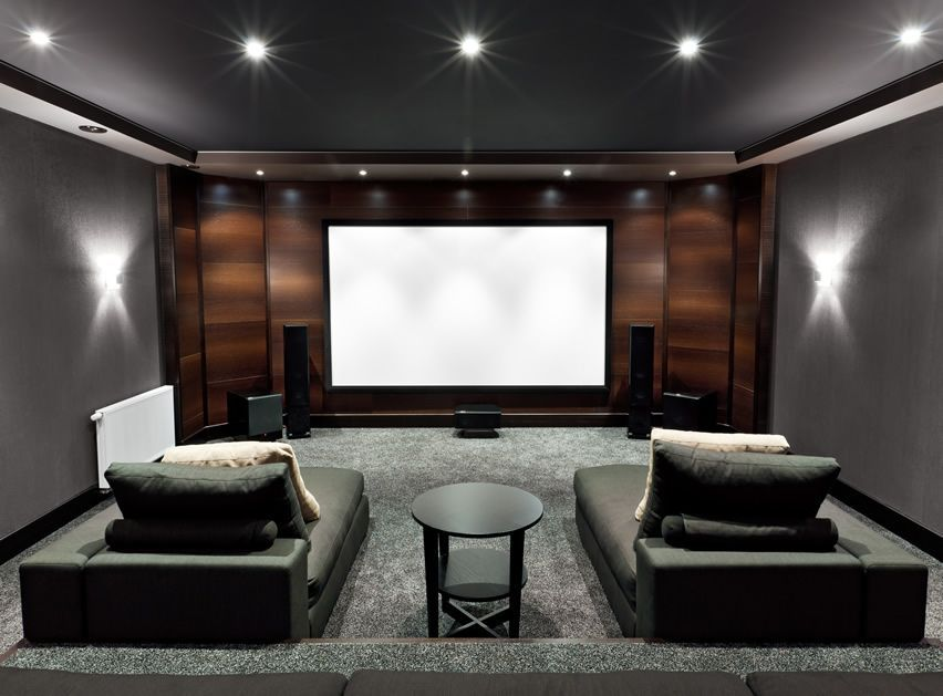 Home theater with lounge couches smallroomdesignmen Home