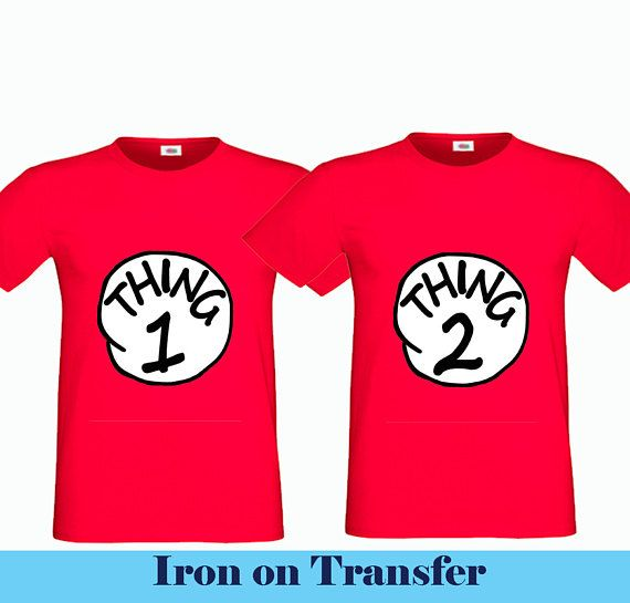 Instant Download Printable Thing 1 Thing 2 Iron On Transfer Diy