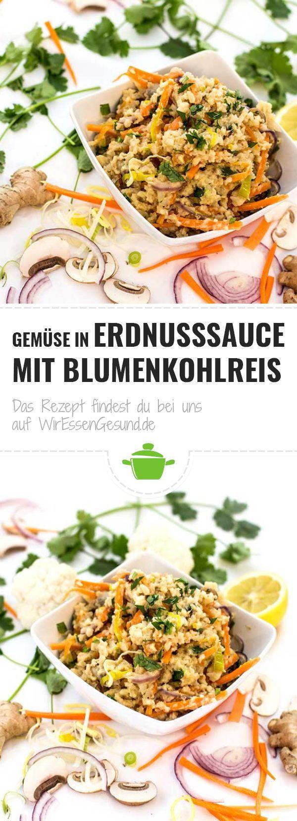 Photo of Vegetables in peanut sauce with cauliflower rice – WirEssenGesund