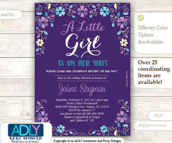 Purple Turquoise And Gold Baby Shower Invitation Blossom