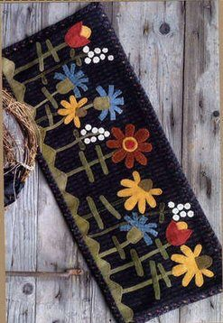 Summer Wild Flowers Wool Applique Penny Rugs