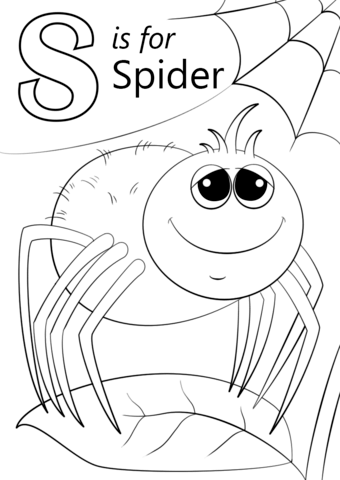 Letter S Is For Spider Coloring Page
