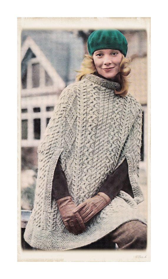 Knitting Pattern Aran Cape : Instant Download PDF Knitting Pattern to make an Irish Aran Poncho Cape Women...
